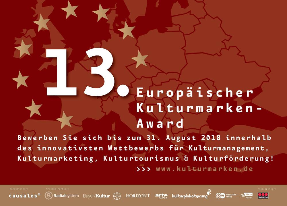 """Causales_Award-Anzeige_klein Ausschreibung der 13. Europäischen Kulturmarken-Awards startet mit der neuen Kategorie """"Europäischer Preis für Medienkultur 2018"""""""