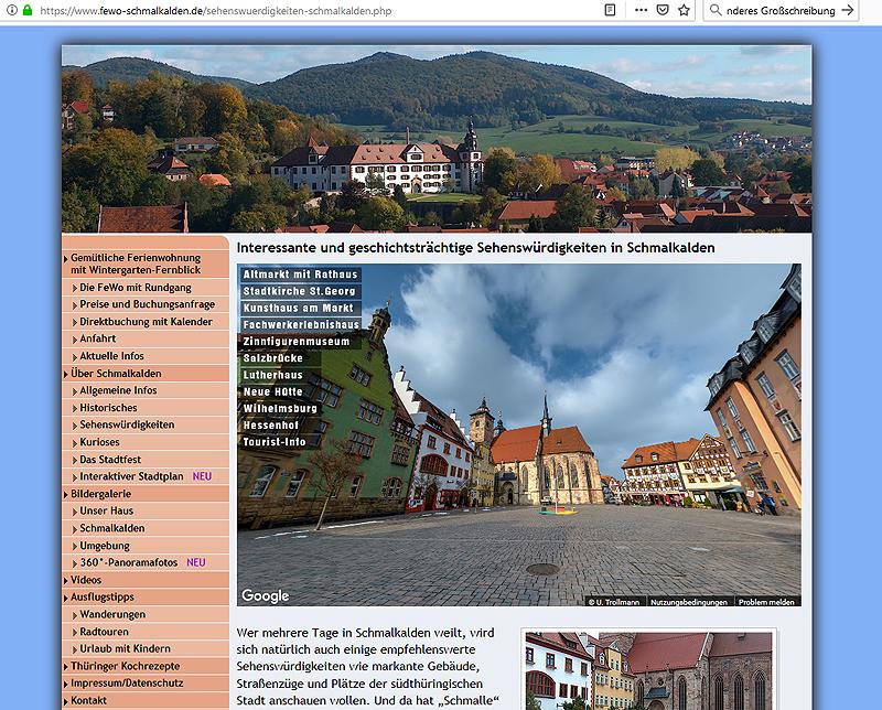 ferienwohnung-schmalkalden-altmarkt 360°-Panoramen als virtuelle Tour durch die hübsche Fachwerkstadt Schmalkalden/Thüringen