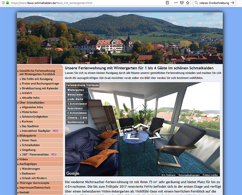 ferienwohnung-schmalkalden-innen 360°-Panoramen als virtuelle Tour durch die hübsche Fachwerkstadt Schmalkalden/Thüringen
