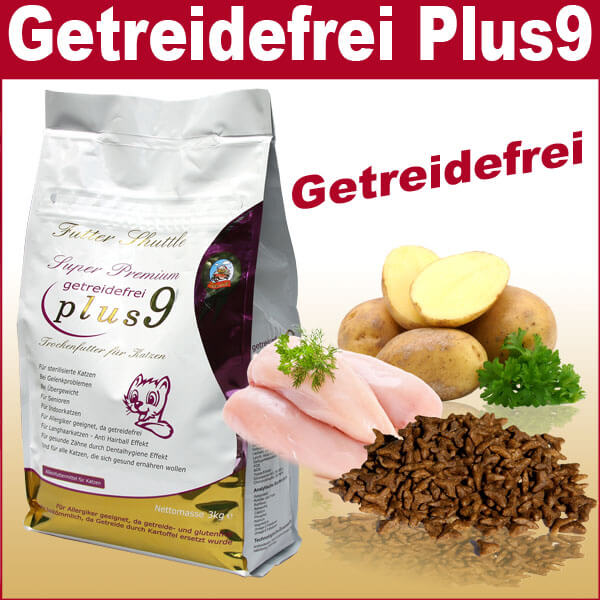 9 x Plus – Getreidefreies Katzenfutter Trockenfutter Plus 9